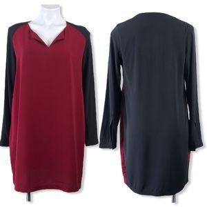 imanimo colorblock maternity shift dress red black
